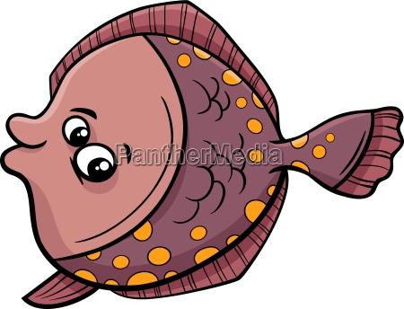 flunder fisch cartoon abbildung