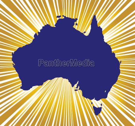 australien goldene silhouette