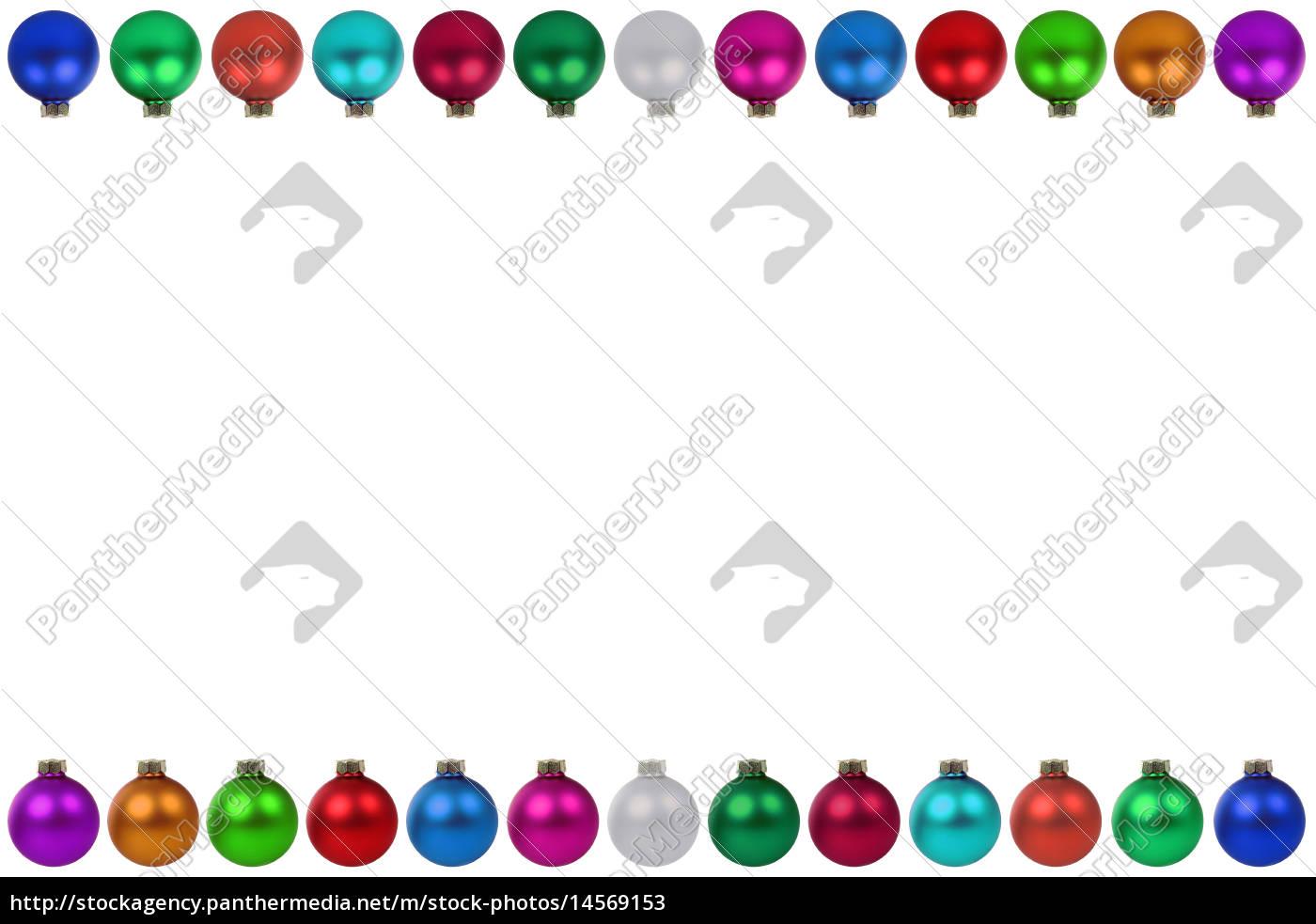 Weihnachten viele bunte Weihnachtskugeln Rahmen - Lizenzfreies Bild ...