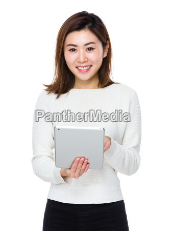 asian woman use of digital tablet