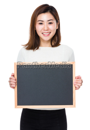 asian woman show with chalkboard