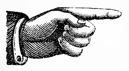 retro vintage hand punkt kennzeichenrechts