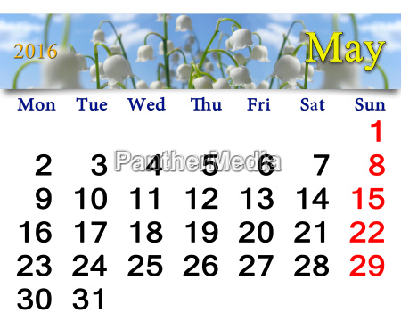 calendar for may 2016 with lily