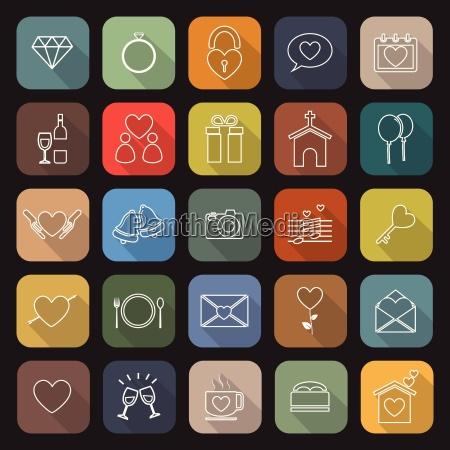 hochzeitslinie flache ikonen mit langem schatten