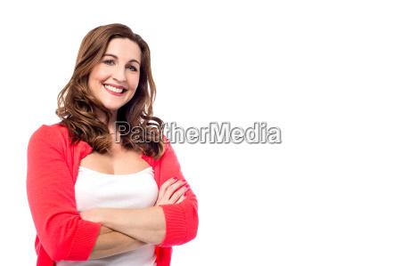 pretty woman with delightful smile