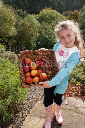young girl with basket of fruit