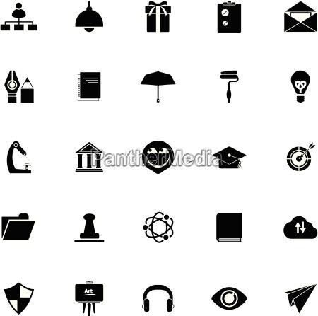 job nimmt icons auf weissem hintergrund