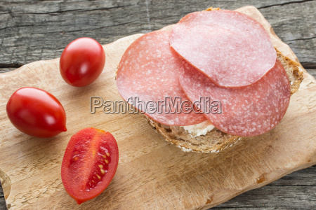 bread with cream cheese and salami
