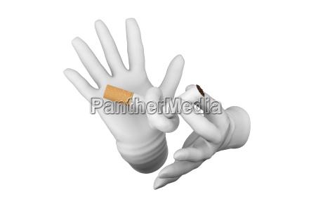 hands warn against cigarette