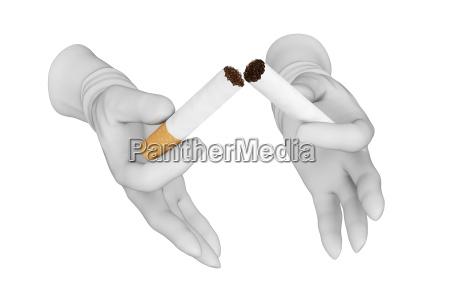 hands breaking cigarette