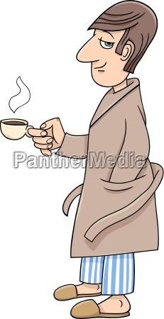 man with coffee cartoon