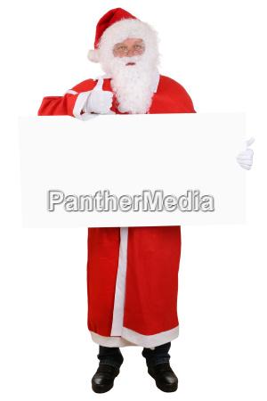 weihnachtsmann nikolaus weihnachten haelt leeres schild