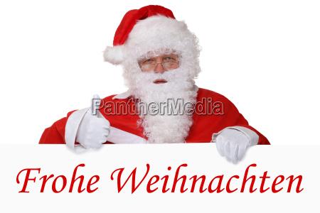 weihnachtsmann nikolaus zeigt frohe weihnachten weihnachtskarte