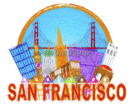 san francisco abstract skyline golden gate