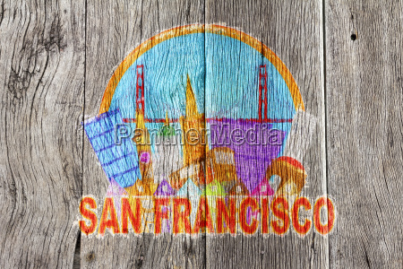 san francisco abstract skyline wood background
