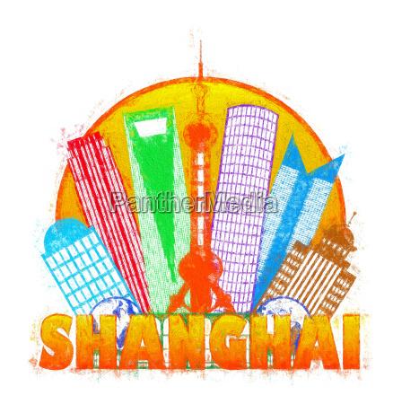shanghai city skyline kreis impressionist illustration
