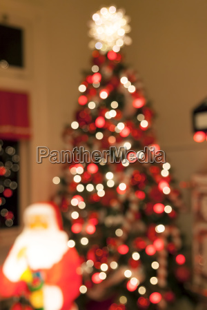 christmas tree blurred bokeh