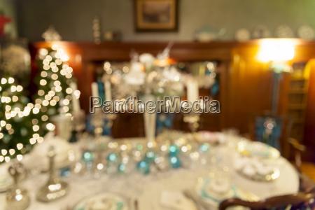 weihnachten, urlaub, abendessen, tischdekoration, verschwommen - 14612741