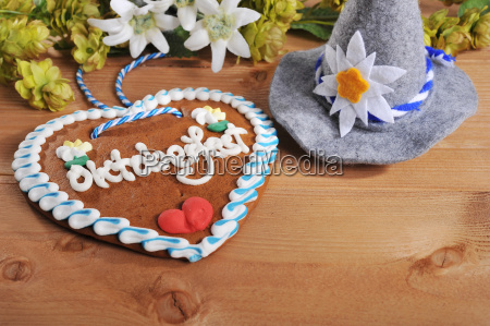bavarian gingerbread heart with traditional hat
