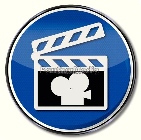 schild filmklappe und kamera