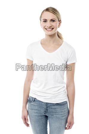 smiling pretty girl posing to camera