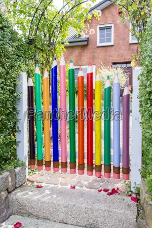 creative garden door with crayons