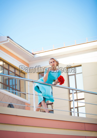 enjoyment fashion model woman with blowing