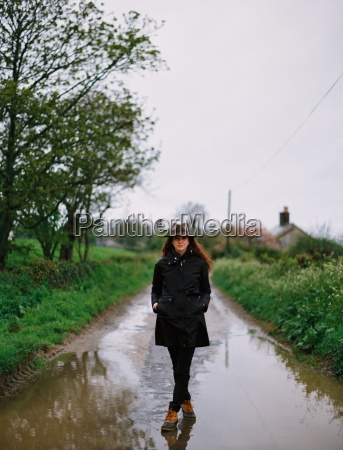 a woman walking on a wet