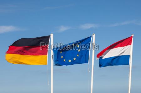 flaggen von deutschlandden niederlanden und der