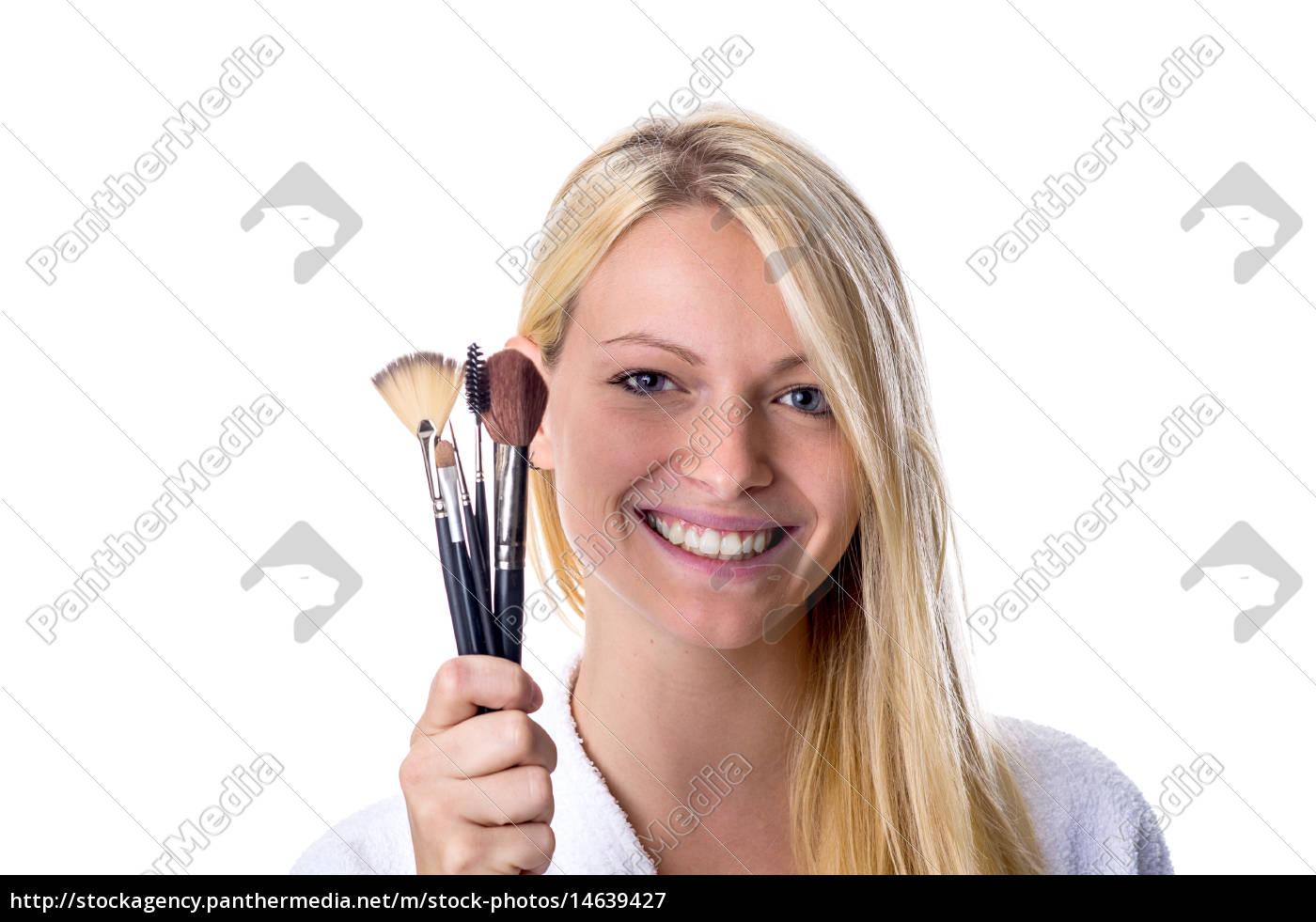 junge, frau, mit, make, up, pinsel - 14639427