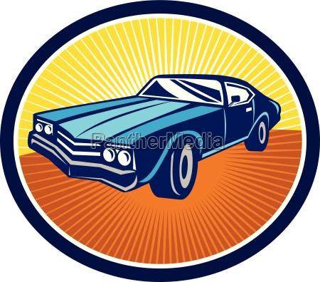 american vintage muscle car rear retro
