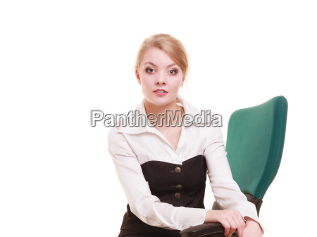 portrait of businesswoman blond woman isolated