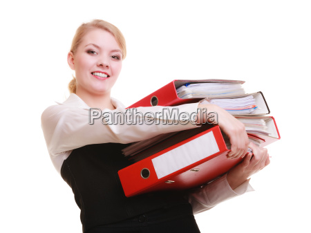 papierkram geschaeftsfrau mit stapeln von dokumenten