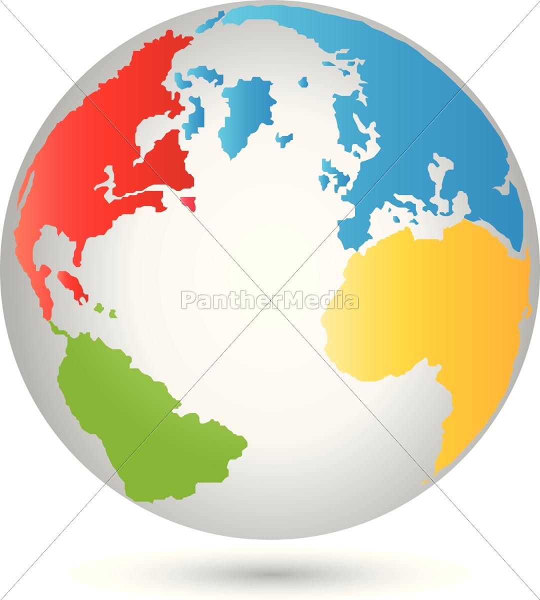 Globus Weltkugel Karte.Lizenzfreie Vektorgrafik 14654741 Erde Globus Weltkugel Vektor