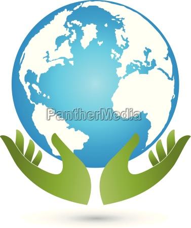 tierra y manos globo globo del
