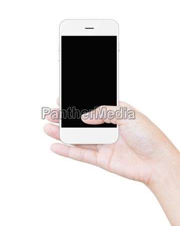 hand weiss smartphone beschneidungspfad bildschirm isoliert