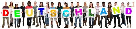 gruppe, junge, leute, people, multikulturell, halten - 14678709