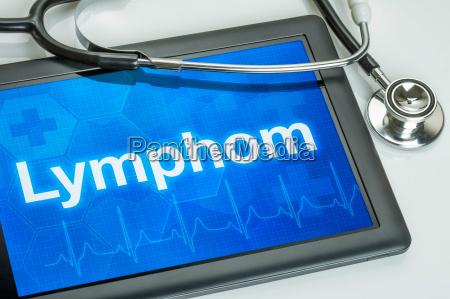 tablet mit der diagnose lymphon auf