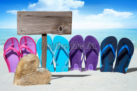 flip flops wood heart and a