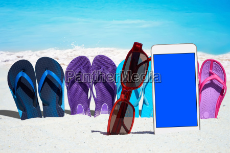 smartphone with empty display and colorful