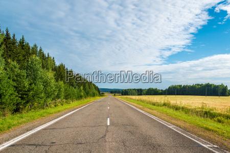 autobahn, in, northen, landschaft, mit, wald - 14697565