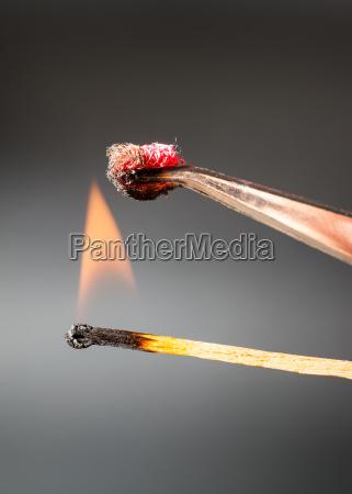 passend zu flamme entzuendet seidengewebeprobe
