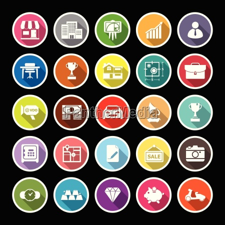 asset and property flat icons with