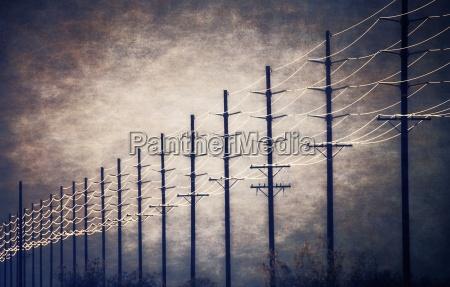 power lines at regular intervals reaching