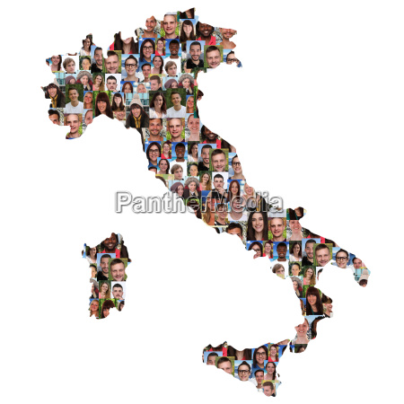 italy map people young people group