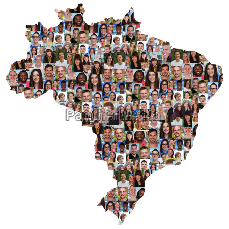 brazil map people young people group