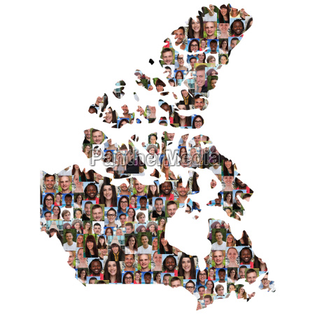 canada map people young people group