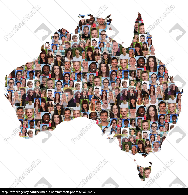 Australien Karte Menschen junge Leute Gruppe - Stockfoto - #14720217 ...
