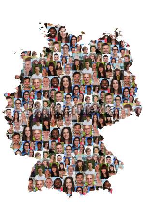 deutschland, karte, menschen, junge, leute, gruppe - 14720195