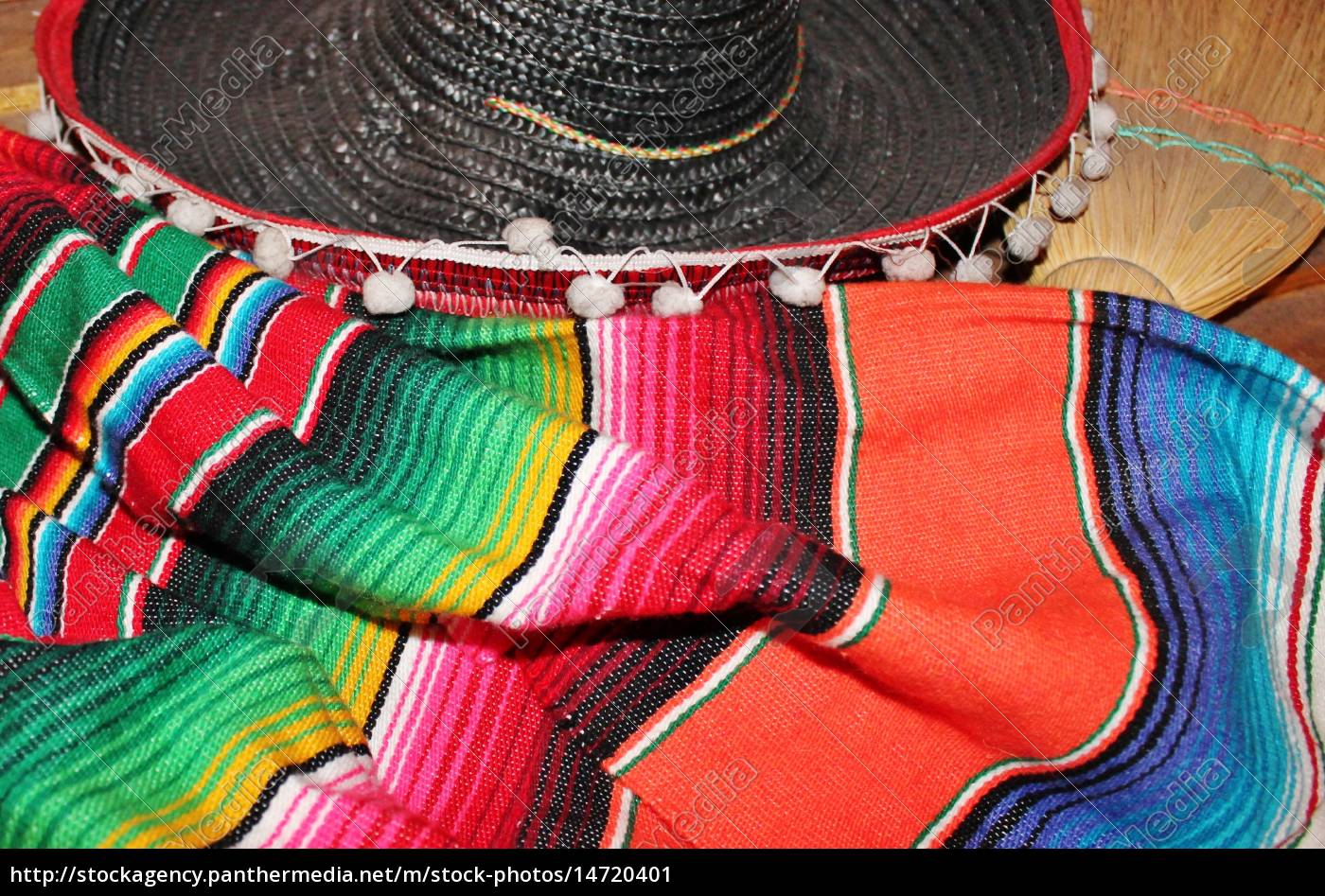 mexikanische, sombrero, fiesta, poncho, serape, hintergrund - 14720401